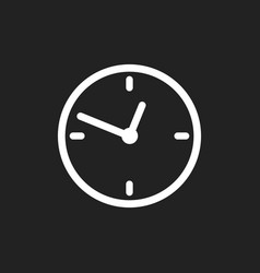 clock icon flat design on black background vector image