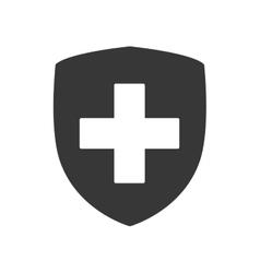 Cross shield medical health care icon vector