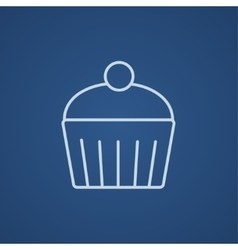 Cupcake with cherry line icon vector