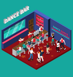 Dance bar isometric composition vector