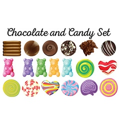 Different design of chocolate and candy set vector