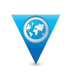 earth icon on map pointer blue vector image