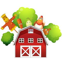 Farm barn produce vector