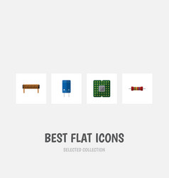 Flat icon device set of bobbin transistor vector