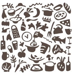 food cookery icons vector image vector image