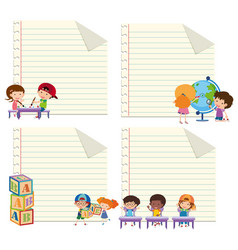 Four paper templates with happy kids vector