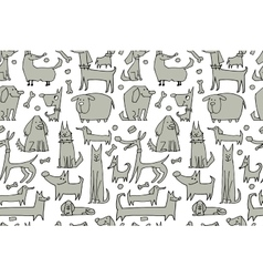 Funny dogs collection seamless pattern for your vector image vector image