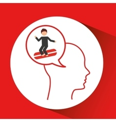 Head silhouette surfer extreme sport vector