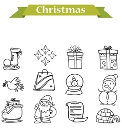 Icons of christmas with hand draw vector