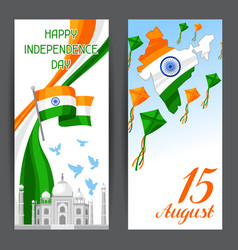 India independence day banners celebration 15 th vector