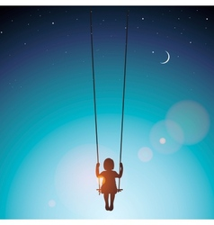 Little girl on a swing vector image vector image