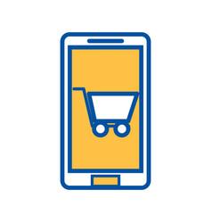mobile phone shopping cart ecommerce digital vector image