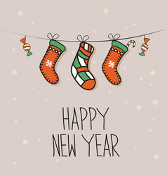 new year background with socks vector image