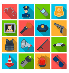 Police set icons in flat style big collection of vector