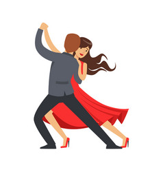 Professional dancer couple dancing latino colorful vector