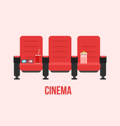 red cinema chairs vector image