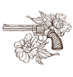 Revolver and peonies contour for tattoo print for vector