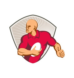 Rugby player running with ball retro vector
