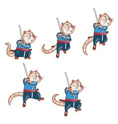 Samurai Mouse Jump Sprite vector image vector image