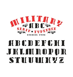 Serif stencil plate font vector
