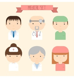 Set of flat colorful doctor icons Medical people vector image