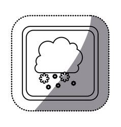 Sticker monochrome square frame with cumulus of vector