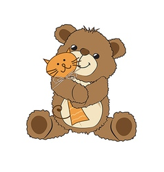 Teddy bear playing with his toy a cat vector