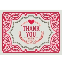 Thank You Vintage Greeting Card design template vector image vector image