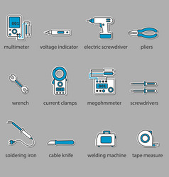 The electricians tools icon set vector