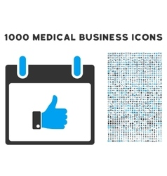 Thumb up hand calendar day icon with 1000 medical vector