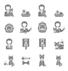 Veterinary clinic visit black icons set vector