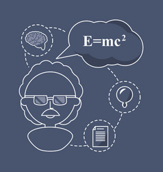 Woman teacher chemistry with knowledge icons vector