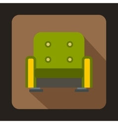 Green armchair icon flat style vector