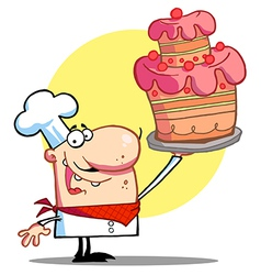Bakery chef holding up a beautifully cake vector