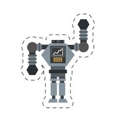 Big robot futuristic analytics screen wheel vector