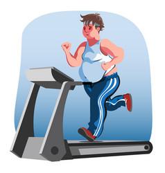 fat man character running fast on treadmill vector image