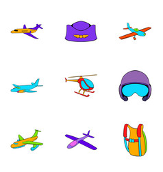 Aviator icons set cartoon style vector