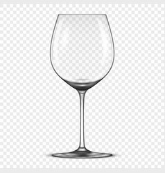 Realistic empty wine glass icon isolated on vector