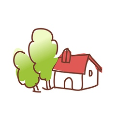 A house with trees vector image