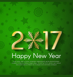 Golden new year 2017 concept on green vintage vector