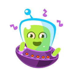 Dancing alien in a flying saucer cute cartoon vector