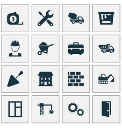architecture icons set collection of measure tool vector image