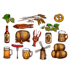 Sketch icons set of beer snacks and brewery vector