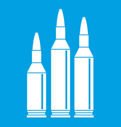Bullet ammunition icon white vector