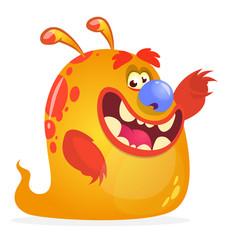 Orange monster cartoon vector