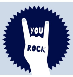 You rock poster template devils horns sign vector