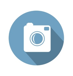 Hipster photo camera icon with long shadow vector image