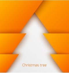Orange abstract christmas tree paper applique vector image