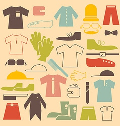 Retro clothing flat design icons set vector