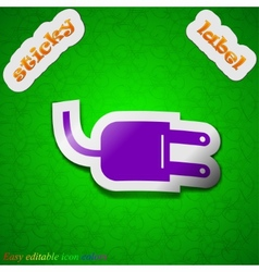 Electric plug icon sign symbol chic colored sticky vector